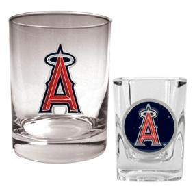 Anaheim Angels Rocks Glass & Square Shot Glass Set