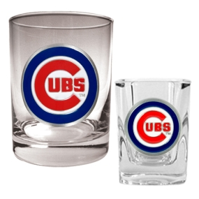 Chicago Cubs Rocks Glass & Square Shot Glass Set