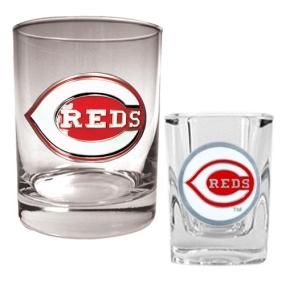 Cincinnati Reds Rocks Glass & Square Shot Glass Set