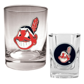 Cleveland Indians Rocks Glass & Square Shot Glass Set