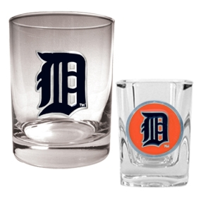 Detroit Tigers Rocks Glass & Square Shot Glass Set
