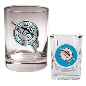Florida Marlins Rocks Glass & Square Shot Glass Set