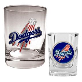 Los Angeles Dodgers Rocks Glass & Square Shot Glass Set