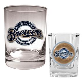 Milwaukee Brewers Rocks Glass & Square Shot Glass Set