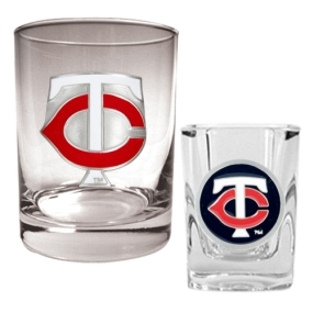 Minnesota Twins Rocks Glass & Square Shot Glass Set