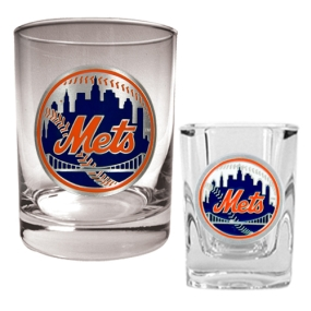 New York Mets Rocks Glass & Square Shot Glass Set