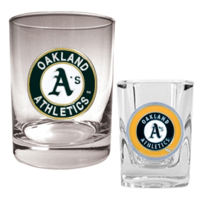 Oakland A's Rocks Glass & Square Shot Glass Set