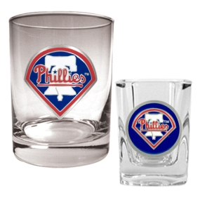 Philadelphia Phillies Rocks Glass & Square Shot Glass Set