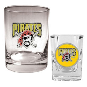 Pittsburgh Pirates Rocks Glass & Square Shot Glass Set