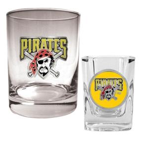 Pittsburgh Pirates Rocks Glass & Square Shot Glass Set