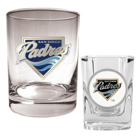 San Diego Padres Rocks Glass & Square Shot Glass Set