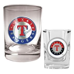 Texas Rangers Rocks Glass & Square Shot Glass Set