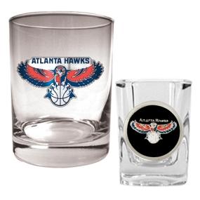 Atlanta Hawks Rocks Glass & Square Shot Glass Set