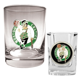 Boston Celtics Rocks Glass & Square Shot Glass Set
