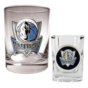 Dallas Mavericks Rocks Glass & Square Shot Glass Set