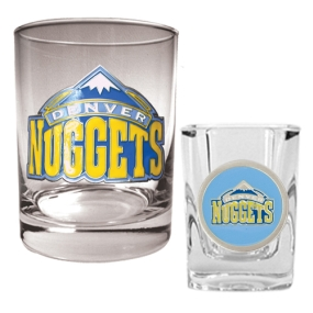 Denver Nuggets Rocks Glass & Square Shot Glass Set
