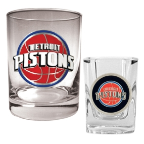 Detroit Pistons Rocks Glass & Square Shot Glass Set
