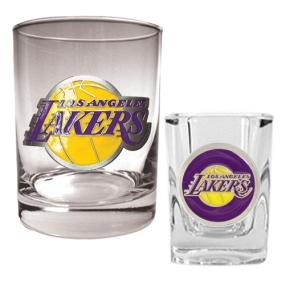 Los Angeles Lakers Rocks Glass & Square Shot Glass Set