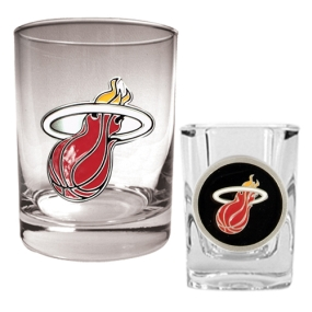 Miami Heat Rocks Glass & Square Shot Glass Set