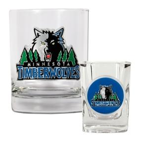 Minnesota Timberwolves Rocks Glass & Square Shot Glass Set