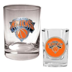New York Knicks Rocks Glass & Square Shot Glass Set