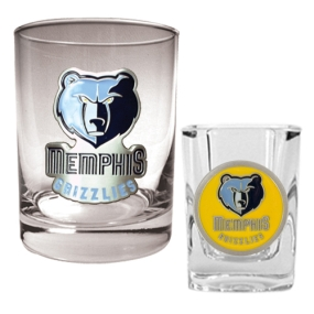 Memphis Grizzlies Rocks Glass & Square Shot Glass Set