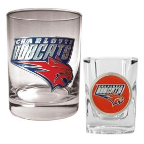 Charlotte Bobcats Rocks Glass & Square Shot Glass Set