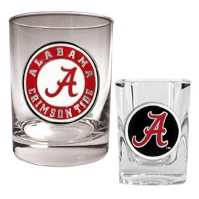 Alabama Crimson Tide Rocks Glass & Shot Glass Set