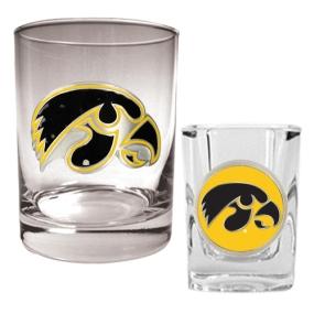 Iowa Hawkeyes Rocks Glass & Shot Glass Set