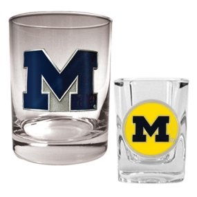 Michigan Wolverines Rocks Glass & Shot Glass Set