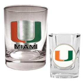Miami Hurricanes Rocks Glass & Shot Glass Set