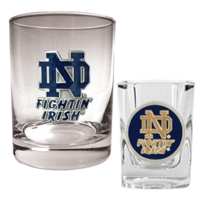 Notre Dame Fighting Irish Rocks Glass & Shot Glass Set