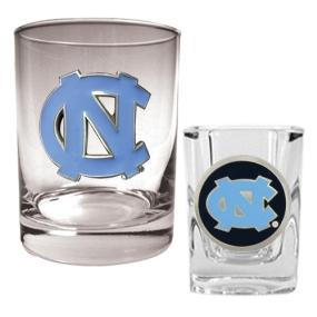 UNC Tar Heels Rocks Glass & Shot Glass Set