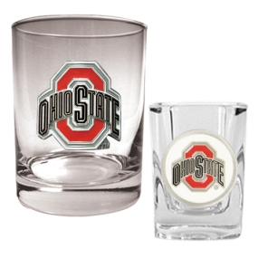 Ohio State Buckeyes Rocks Glass & Shot Glass Set