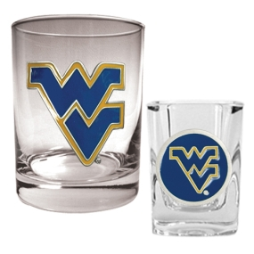 West Virginia Mountaineers Rocks Glass & Shot Glass Set