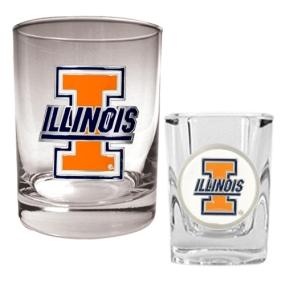 Illinois Fighting Illini Rocks Glass & Shot Glass Set