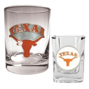 Texas Longhorns Rocks Glass & Shot Glass Set