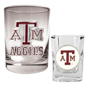 Texas A&M Aggies Rocks Glass & Shot Glass Set