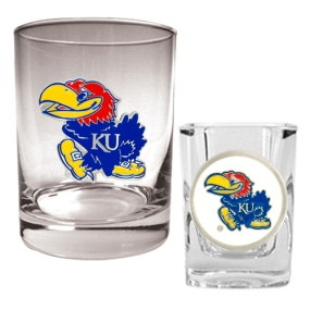 Kansas Jayhawks Rocks Glass & Shot Glass Set