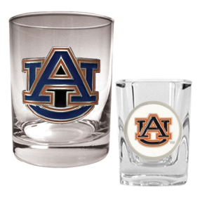 Auburn Tigers Rocks Glass & Shot Glass Set