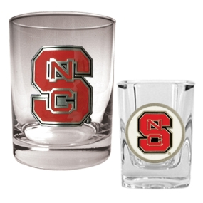 N.C. State Wolfpack Rocks Glass & Shot Glass Set
