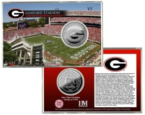 University of Georgia Sanford Stadium Silver Coin Card