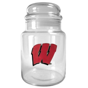 Wisconsin Badgers 31oz Glass Candy Jar