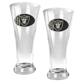 Oakland Raiders 2pc 19oz Pilsner Glass Set