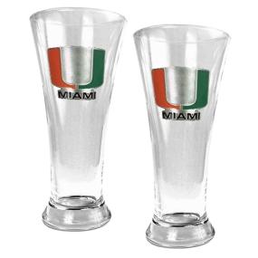 Miami Hurricanes 2pc 19oz Pilsner Glass Set