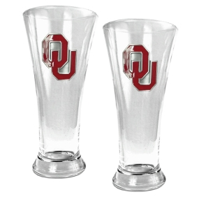Oklahoma Sooners 2pc 19oz Pilsner Glass Set