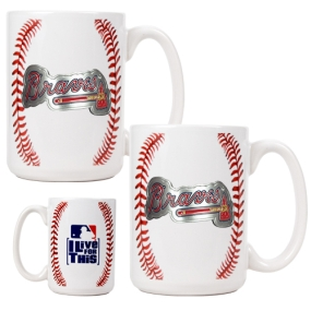 Atlanta Braves 2pc Ceramic Gameball Mug Set