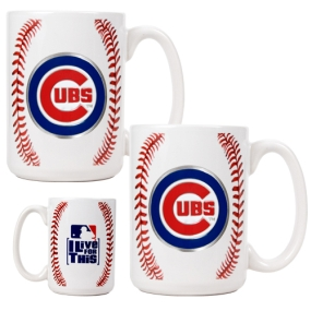Chicago Cubs 2pc Ceramic Gameball Mug Set