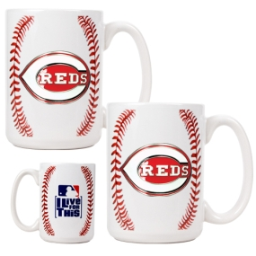 Cincinnati Reds 2pc Ceramic Gameball Mug Set