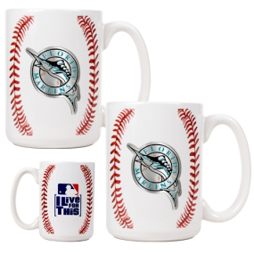 Florida Marlins 2pc Ceramic Gameball Mug Set